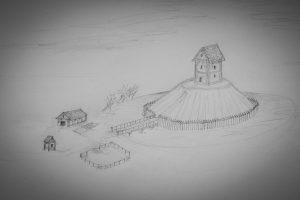 Schnell skizziert: so könnte eine Turmhügelburg einmal ausgesehen haben.