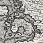 Der Rest der Insel Strand nach der Sturmflut 1634. Die überfluteten Bereiche sind schraffiert.Karte von J. Mejer, 1651.